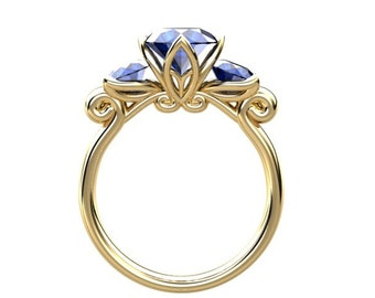 Sapphire Anniversary Ring Yellow Gold Ring 1.60ct Round Sapphire Engagement  Wedding Ring Birthstone Ring Leaf Ring Nature Inspired Ring