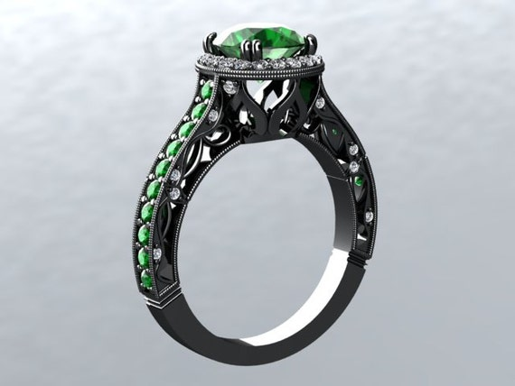 Black Gold Emerald Engagement Ring CROWNED LOVE 14kt Ring