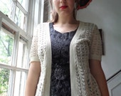 Betsy Johnson short sleeved lace cardigan. women's size small.