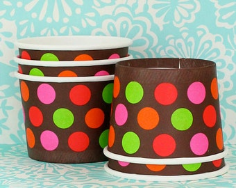 6 Orange, Red, Pink and Green Ice Cream Cups with Spoons and Lids  Nut Cups Ice Cream Cups Cupcake Liners Fruit Cups Portion Cups