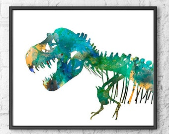 Watercolor Art Print T-Rex Dinosaur Home Wall Decor - 286