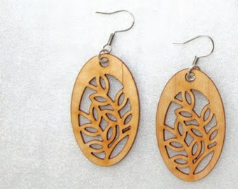 Single Layered Ply Wood Earring With Backing