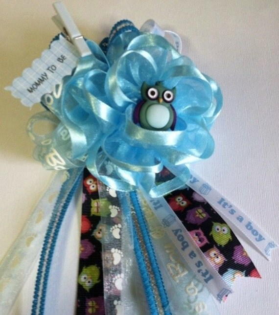 owl theme baby shower mommy to be corsage itu0027s a boy baby shower corsage baby blue