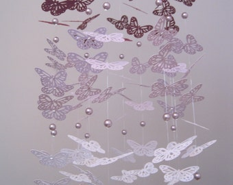 Purple Butterfly Mobile with Glass Pearls