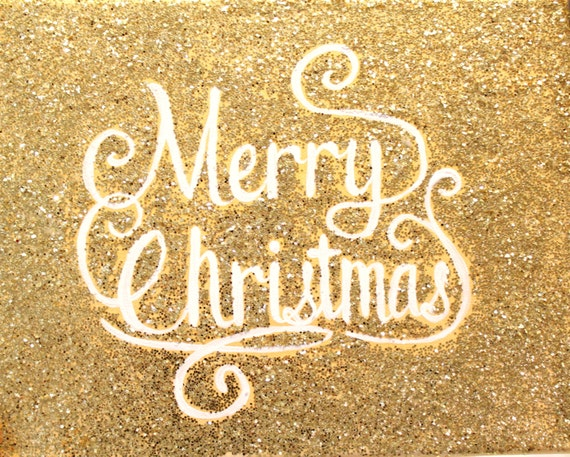 Items similar to Gold Glitter Merry Christmas Sign on Etsy