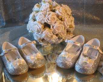 Size 1 Crystal encrusted bow flower girl young bridesmaid christening shoes