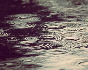 "Sepia Tone Fine Art Photography - photo of raindrops on a puddle; vintage, modern art - ""Nostalgic Puddle"""