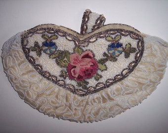 Vintage Heart Shaped BEADED CLUTCH - Antique
