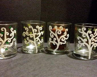 Four Hand Painted Votive Candle Holders - Trees of Love