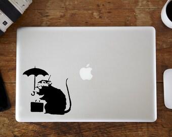 Banksy Rat Umbrella MacBook Decal