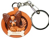 Papillon 3D Leather Dog Plate Keychain Purse  Charm Accessory *VANCA* Made in Japan #26537 Free Shipping