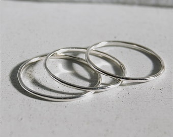 3 Dainty stacking rings - sterling silver stacking rings - smooth finish rings - hammered finish stack rings - thin rings - set of rings