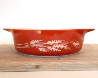 Vintage Pyrex Small Casserole Dish #471 Autumn Harvest Orange Rust Wheat Small Casserole Bowl  #471 -B 500 ML Vintage Kitchen
