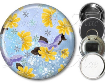 Japanese Floral Mirror, Floral Refrigerator Magnet, Bottle Opener Key Ring, Pin Back Button, Makeup Mirror, Butterfly, Blue and Yellow