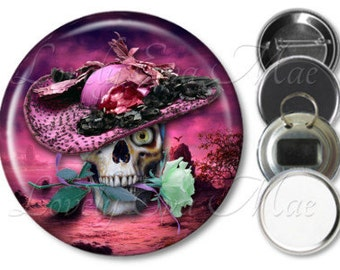 Pink Skull Pocket Mirror, Refrigerator Magnet, Bottle Opener, Skull Key Ring, Pin Back Button, Skull Keychain, Pink Hat, Skull with Rose