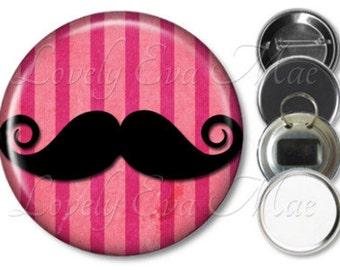 Pink Stripe Mustache Pocket Mirror, Purse Mirror, Mustache Magnet, Bottle Opener Key Ring, Pin Back Button