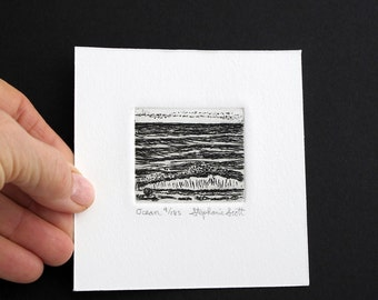 Ocean  - Original Etching & Engraving, Hand-printed, Limited Edition