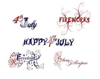 4th of July word art. Digital files
