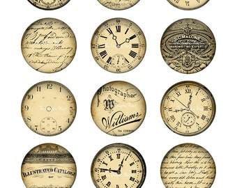 2x2 inch circles with clocks and type. Digital file. Digital download.