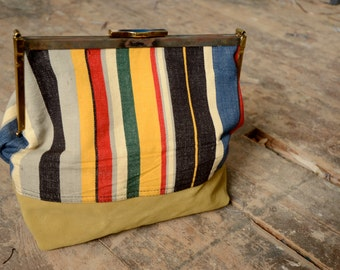 SALE 50% OFF - Large Striped Cotton Canvas and Green Leather Clutch Bag with Vintage Frame