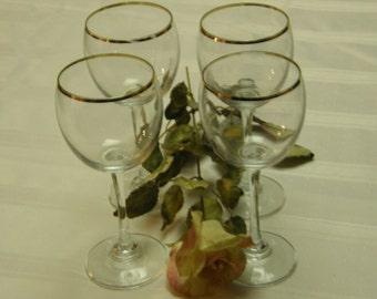 Set of Four Retro Wine Glasses