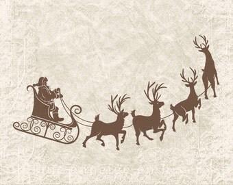 Digital Christmas Reindeer - Vintage Christmas Santa and Reindeer Silhouette Santa Sleigh Clipart Printable -  Illustration INSTANT DOWNLOAD