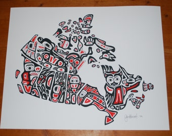 "LIMITED EDITION 16x20"" 'Our Home and Native Land' print (1of 500) - Canadian Northwest Coast First Nations Style Art Map of Canada, signed"