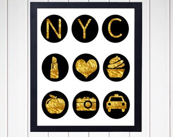 NYC Art Print - Icons - Wall Decor - Digital Art - Faux Gold Foil - Poster - Typography - 2400