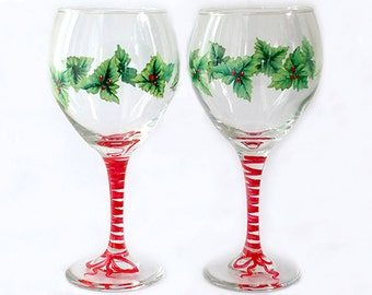 Set of 2 Hand Painted Wine Glasses Christmas Mistletoe Red Berries Hand Painted Glassware Stemware Hand Painted Wine Glasses Painted Glass