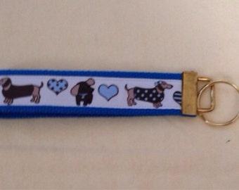 Wiener dog dachshund doxie wristlet key fob holder key chain.
