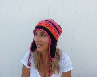 Free Shipping Women's Black Hat with Ear Flaps