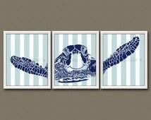 8x10 (3) SEA TURTLE NURSERY Prints - Nursery Art, Nursery Decor, Children's Art, Nautical - Sea Turtle