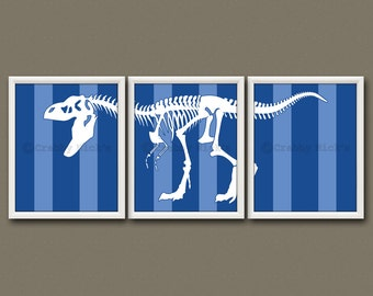 8x10 (3) DINOSAUR PRINTS - Nursery Art, Nursery Decor, Children's Art, Children's Decor, Dinosaur Prints - T-Rex Skeleton