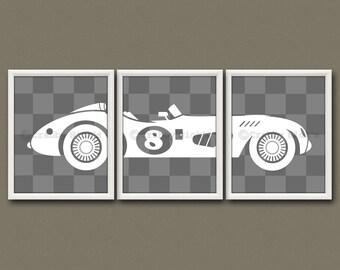 8x10 (3) NURSERY RACE CAR Prints - Nursery Art, Nursery Decor, Children's Art - Vintage Race Car