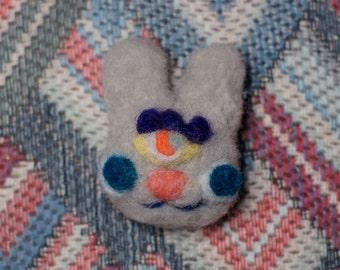 3rd Eye Bunny Brooch (grey)