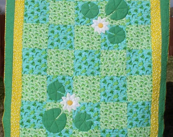 Twin Quilt with Frogs, Turtles, and Bees, Green Aqua and Yellow