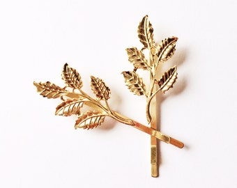 Set of 2 Gold Leaves Branch Bobby Pins - Gold Plated Hair accessories - Hair accessories - Rose gold - Boho style - Bobby Pins - Gold Leaves