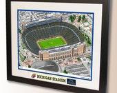 Michigan Stadium Art, home of the University of Michigan Wolverines