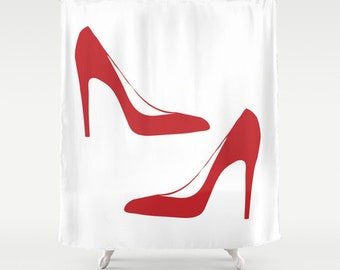 Shower Curtain - Red Heels - Red and White - Housewarming Gift - Glamour Decor - Bathroom Shower Curtain - Fashion Decor