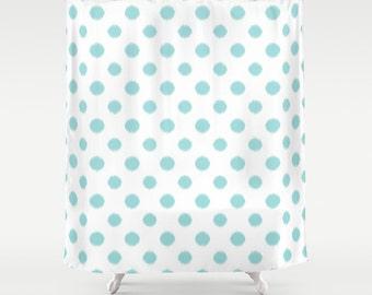 Aqua Shower Curtain, Ikat, Polka Dots, Girls Bathroom Decor, Teen Girl Room Decor, Fabric Shower Curtain, Standard or Extra Long, Blue