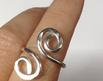 Hammered Silver or Gold Spiral Ring, Hammered and Forged by LisaJStudioJeweler