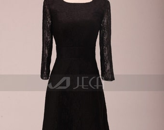 Illusion Sleeves Knee Length Black Lace Formal Dress Party Dress Mother of Bride Dress B449