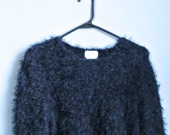 Black Fuzzy 90's Sweater