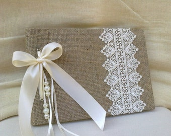 Wedding guestbook-Burlap and lace - Rustic Wedding guest book - Unique guest book - Best bridal shower gift