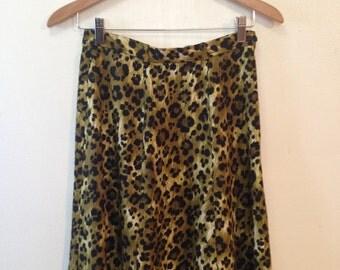 Green Leopard Print Skirt Size 4