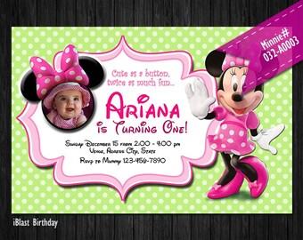 POLKADOT Mouse Digital Invitation for Minnie Birthday - Digital Invite for Minnie party