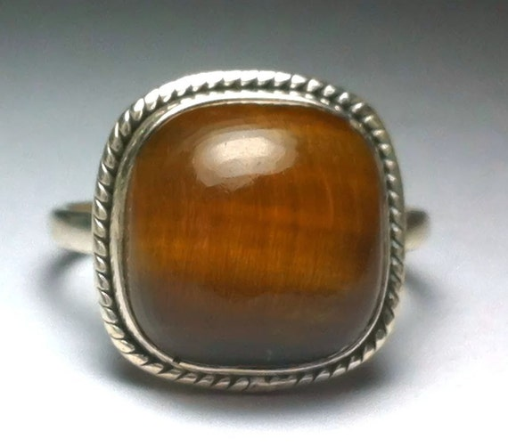 tiger eye ring tiger eye silver ring sterling by firsthandshop