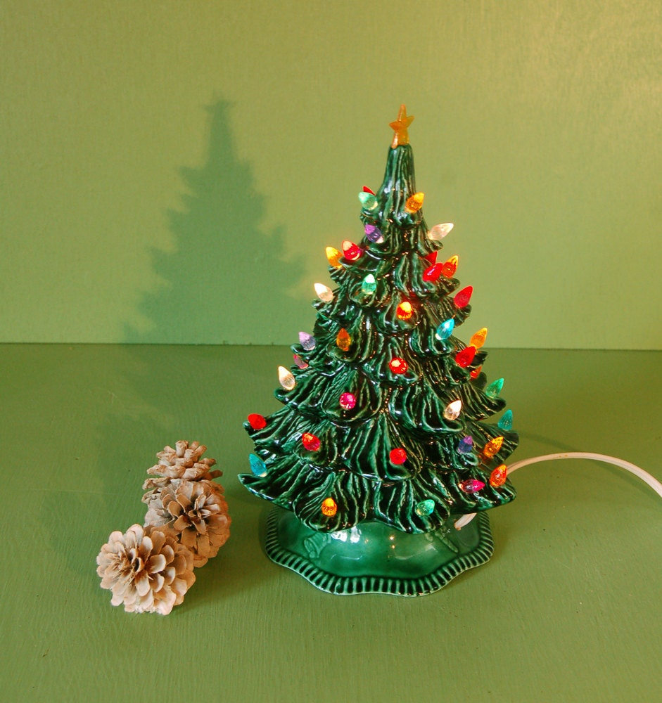 Small Vintage Ceramic Christmas Tree / Lighted Ceramic Tree