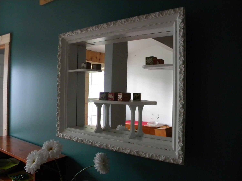 Vintage White Shadow Box Mirror Display Wall Shelf Frame