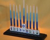 Hanukkah Mahjong Menorah Handmade Asian Chinese Style East Meets West! Mah Jong
